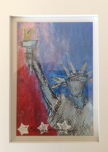 "Art | Liberty 2 | Mixed Media on Paper with White Mat | 7"" x 5""-Acrylic Painting-Sterling-and-Burke"