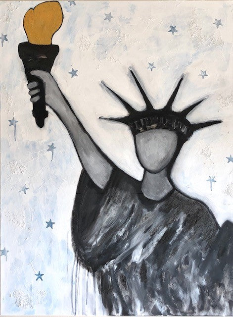"Art | Liberty | Original Acrylic Mixed on Gallery Canvas | 40"" x 30""-Acrylic on Paper-Sterling-and-Burke"