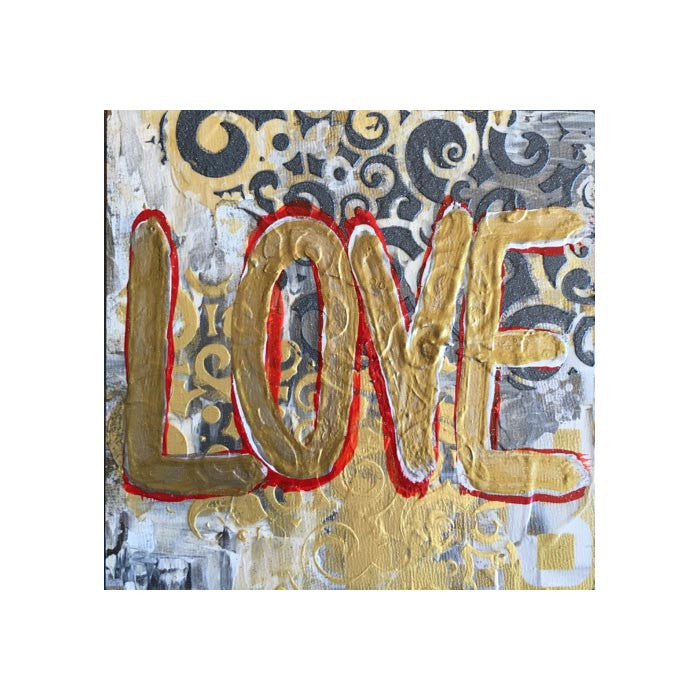 Ouro-Love, Original Acrylic on Wood, 6 by 6 inches-Acrylic Painting-Sterling-and-Burke