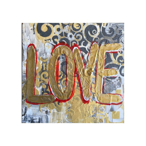 "Art | Ouro-Love | Acrylic on Wood by Fabiano Amin | 6"" x 6""-Acrylic Painting-Sterling-and-Burke"