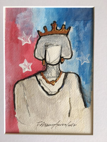 "Art | My Queen | Acrylic on Paper by Fabiano Amin | 7"" x 5"""