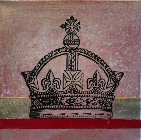 "Art | Red Crown | Mixed Media on Canvas by Fabiano Amin | 10"" x 10""-Mixed Media-Sterling-and-Burke"