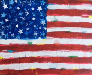 Red Stripes, Original Acrylic Mixed on Canvas, 16 by 20 Inches-Acrylic Painting-Sterling-and-Burke