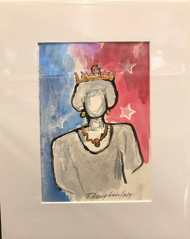 Super Queen | Acrylic on Paper | 5 by 7 Inches | Fabiano Amin-Acrylic on Paper-Sterling-and-Burke