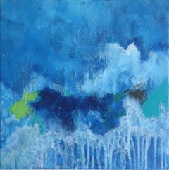 "Art | Tudo Azul 2 | Original Mixed Media on Gallery Canvas | 12"" x 12""-Mixed Media-Sterling-and-Burke"