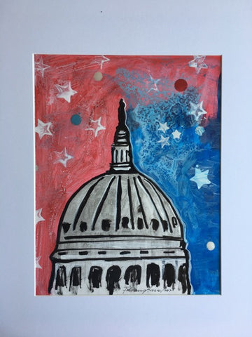 "Art | US Capitol - 2017 | Original Acrylic on Paper by Fabiano Amin | 14"" x 11""-Acrylic on Paper-Sterling-and-Burke"