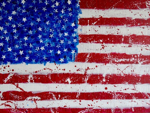 "Art | USA 4 | Original Acrylic on Canvas by Fabiano Amin | 30"" x 40""-Acrylic Painting-Sterling-and-Burke"