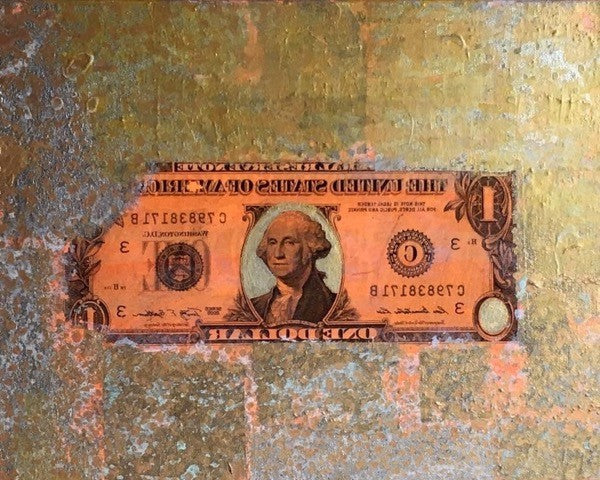 Washington | George Washington on One Dollar Bill | Original Acrylic Mixed on Gallery Canvas | 14 by 11 Inches | Fabiano Amin |-Mixed Media-Sterling-and-Burke