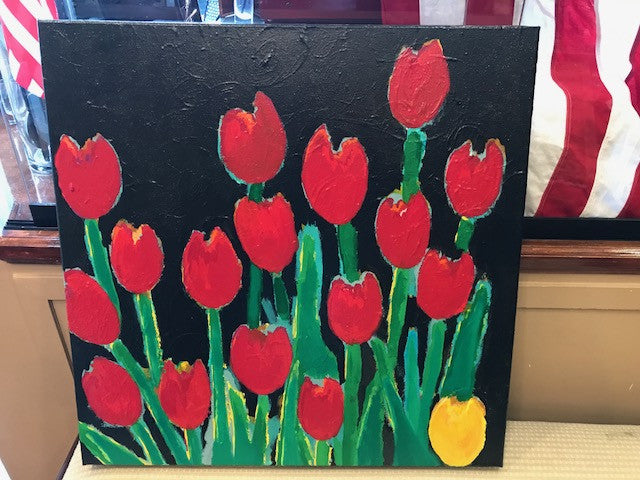 Yellow Tulip, Original Acrylic on Gallery Canvas, 24 by 24 Inches-Mixed Media-Sterling-and-Burke