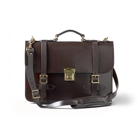 Dark Brown Leather Field Satchel Briefcase made in USA by FILSON