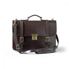 Dark Brown Leather Field Satchel Briefcase | Made in America | FILSON-Briefcase-Sterling-and-Burke