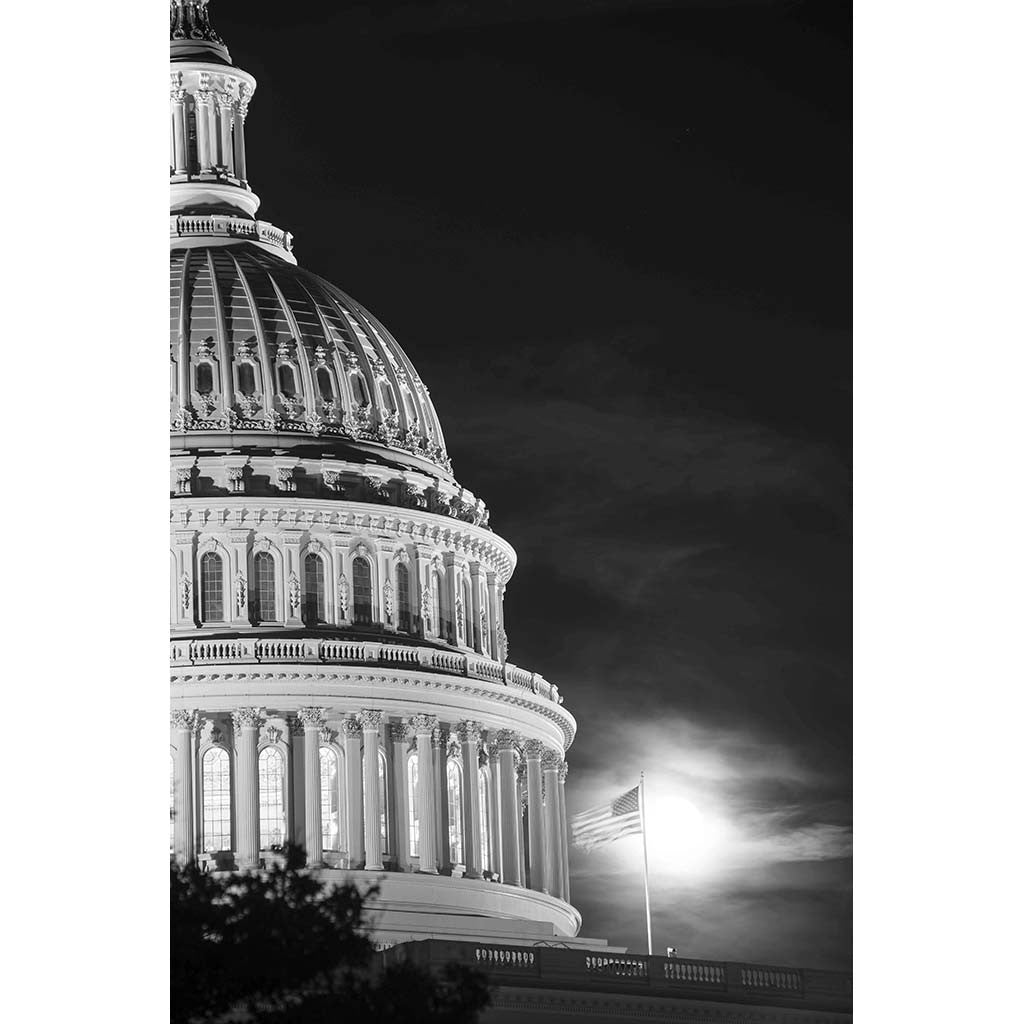 Capitol with Sunrise and US Flag, Photograph, 16 by 20 inches by Frank Ruggles-Photography-Sterling-and-Burke