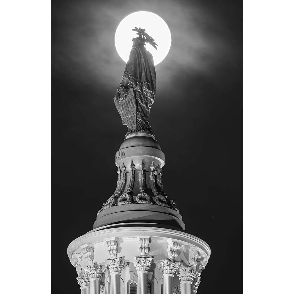 Lady Liberty with Moon, Photograph, 22 by 28.5 inches by Frank Ruggles-Photography-Sterling-and-Burke