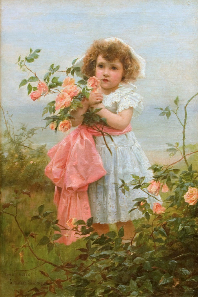 "Antique Oil Painting | Sweet Roses by George Hillyard Swinstead | 39 1/4"" x 28 1/4""-Oil Painting-Sterling-and-Burke"