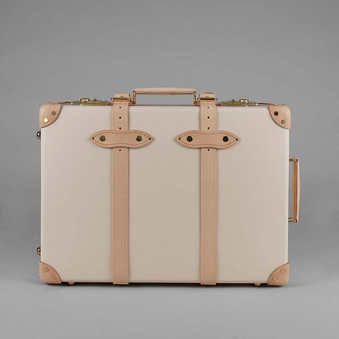 Safari Collection | 20 Inch Trolley Suitcase | Ivory | Brown | Globe-Trotter Luggage