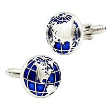 World Cufflinks | Globe Cuff Links | Round | Blue Enamel with Silver-Cufflinks-Sterling-and-Burke