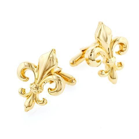 Gold Fleur de Lis Cufflinks-Cufflinks-Sterling-and-Burke