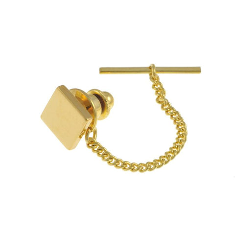 Tie Tack | Square Tie Pin | Heavy Gold Plate | Benson and Clegg | Made in England
