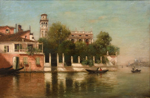 "Antique Oil Painting | Venice, the French Gardens, ca. 1920 by Warren Sheppard | 20-5/8"" x 28-5/8""-Oil Painting-Sterling-and-Burke"