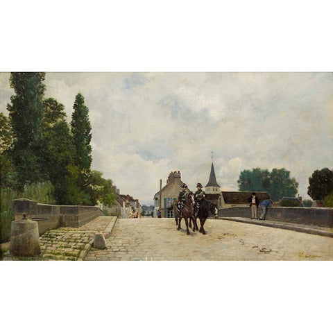 "Antique Oil Painting | Le Pont by Stanislas Lepine | 27 1/4"" x 39 3/4""-Oil Painting-Sterling-and-Burke"