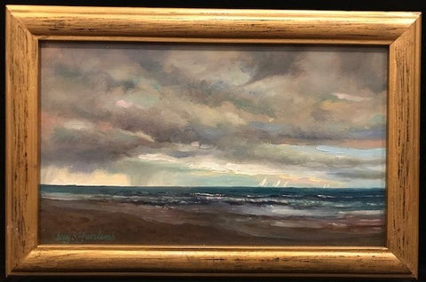 Breaking Storm, Original Oil Painting on Panel, 6 by 10 Inches by Guy Fairlamb-Oil Painting-Sterling-and-Burke