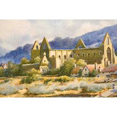 Antique Watercolor Painting | Tintern Abbey by H. English | 19.5 by 22.75 Inches-Watercolor-Sterling-and-Burke