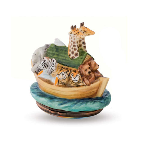 Porcelain and Enamel Box | Noah's Ark Bonbonniere Enamel Box | Halcyon Days | Made in England