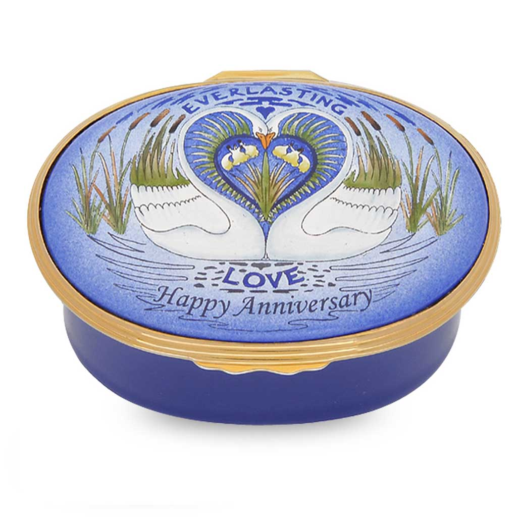 "Musical Enamel Box | ""Anniversary"" Music Box 