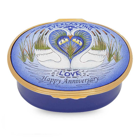 "Halcyon Days ""Anniversary"" Music Box-Enamel Box-Sterling-and-Burke"