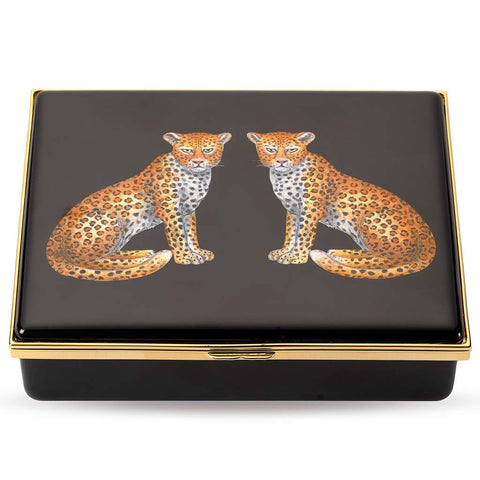 Halcyon Days Twin Leopards Enamel Box in Black and Gold, Large