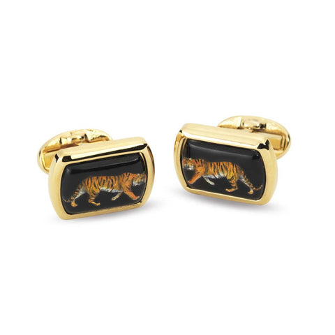 Enamel Cufflinks | MW Tiger Black Cufflinks | Rectangular Gold | Halcyon Days | Made in England
