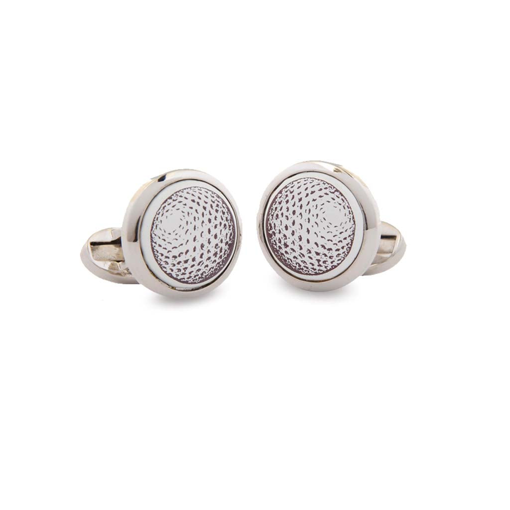 Enamel Cufflinks | Golf Ball Cufflinks | Round Palladium | Halcyon Days | Made in England-Enamel Cufflinks-Sterling-and-Burke