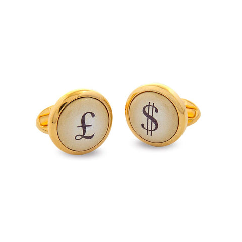 Enamel Cufflinks | Pound and Dollar Cufflinks | Round Ivory and Gold | Halcyon Days | Made in England