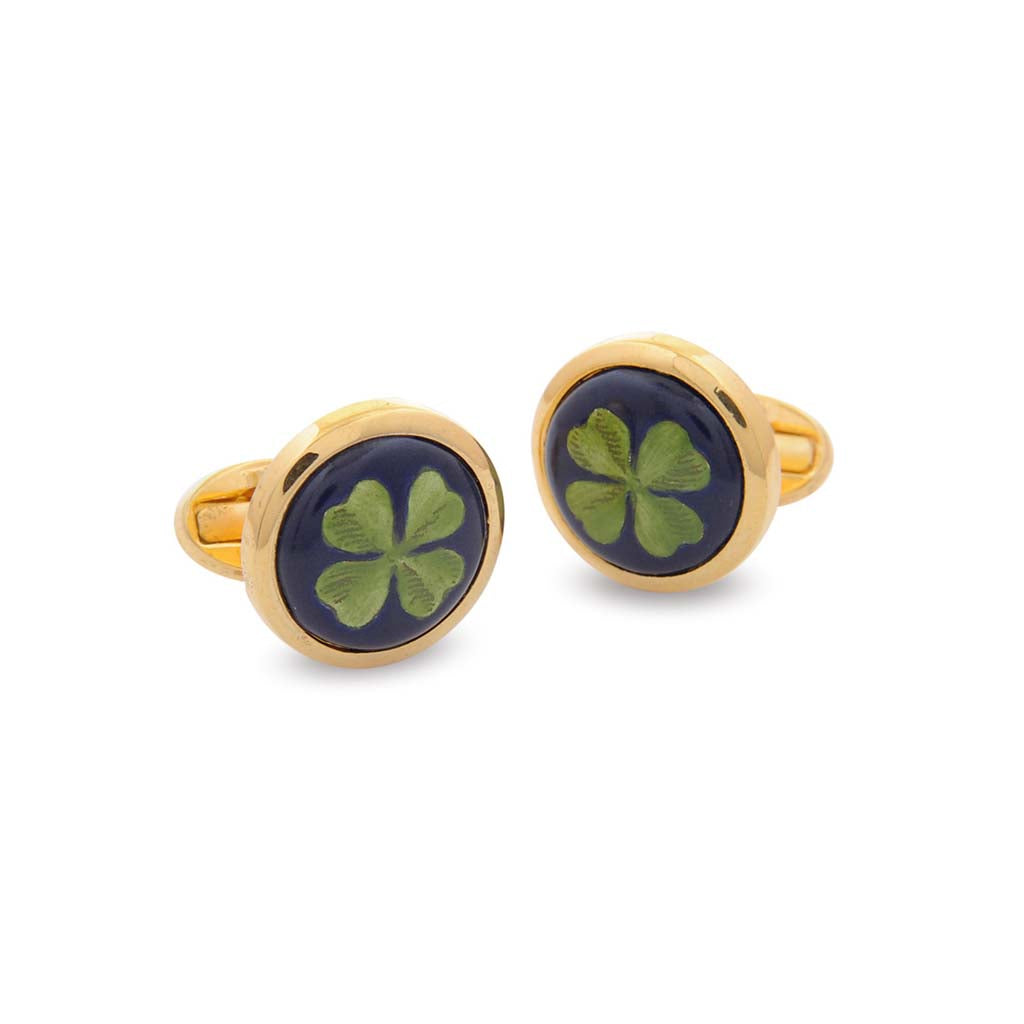 Enamel Cufflinks | Lucky Clover Cufflinks | Round Gold | Halcyon Days | Made in England-Enamel Cufflinks-Sterling-and-Burke