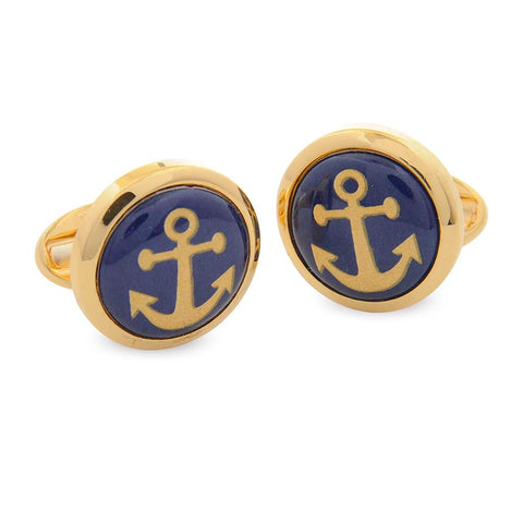 Enamel Cufflinks | Round Anchor Cufflinks | Navy and Gold | Halcyon Days | Made in England-Enamel Cufflinks-Sterling-and-Burke