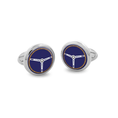 Steering Wheel Cufflinks | Round Blue and Palladium | Halcyon Days
