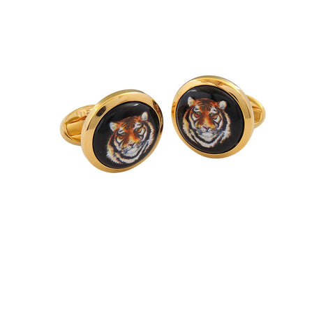 Enamel Cufflinks | MW Tiger Head Cufflinks | Round Gold | Halcyon Days | Made in England