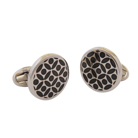 Rose Cufflinks | Black and Palladium | Halcyon Days