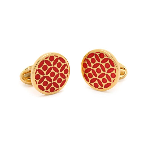Halcyon Days Rose Cufflinks in Red and Gold-Enamel Cufflinks-Sterling-and-Burke