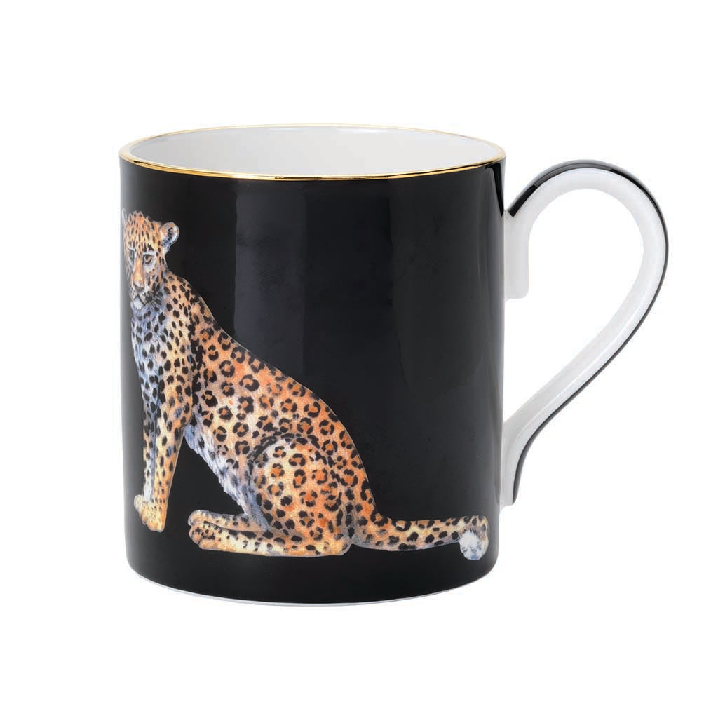 Halcyon Days Twin Leopards Mug in Black-Bone China-Sterling-and-Burke