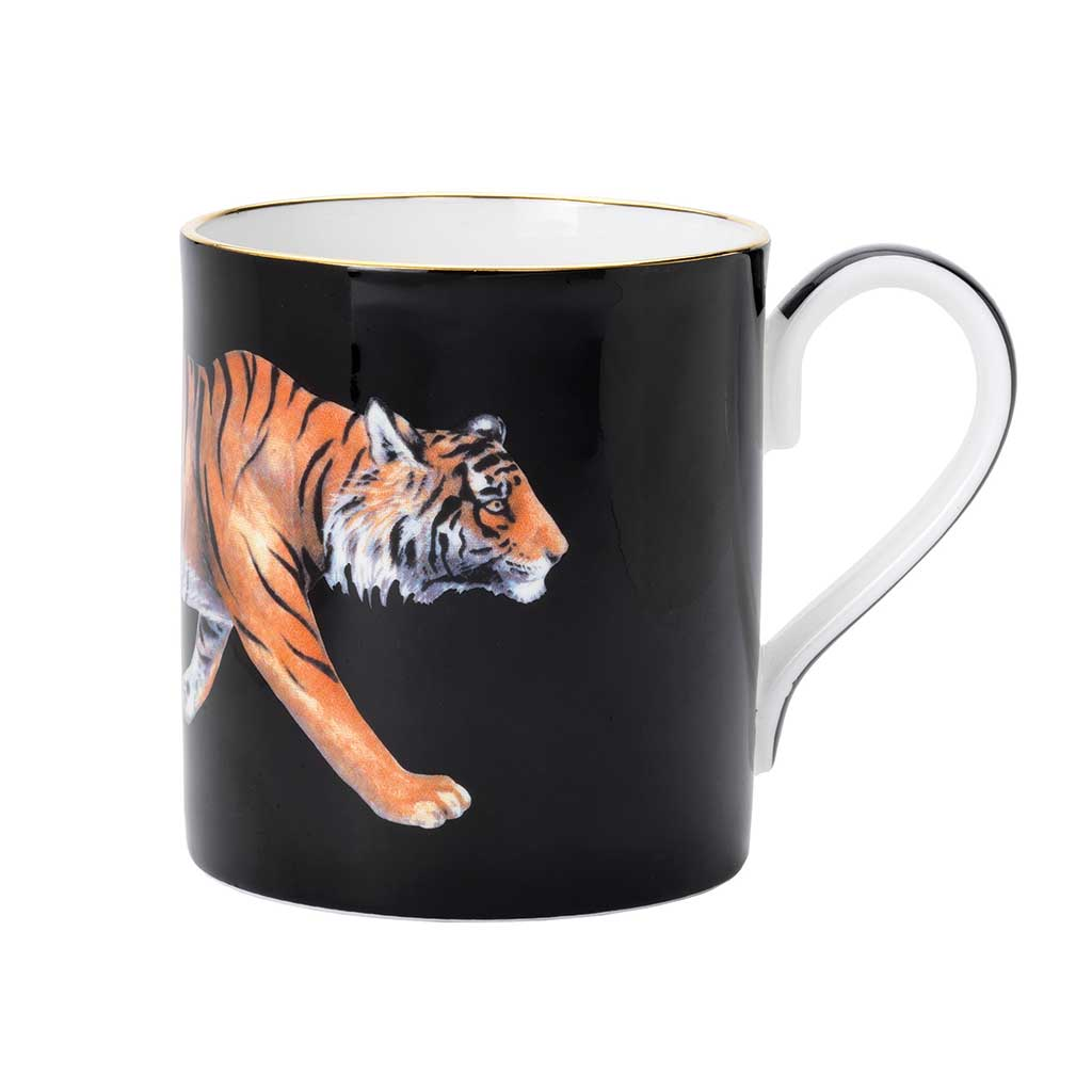 Halcyon Days Tiger Mug in Black-Bone China-Sterling-and-Burke