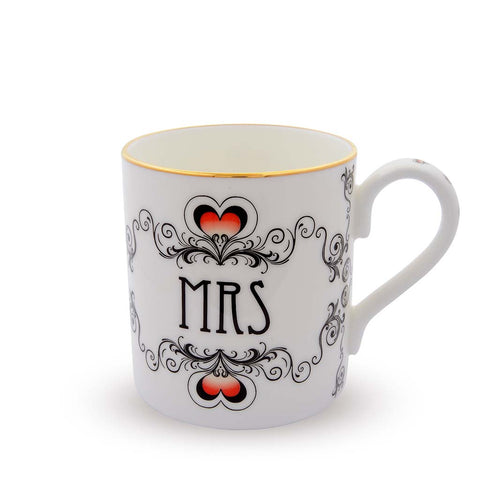 Fine English Bone China | Mrs and Mrs Wedding Mug Set | Halcyon Days | Made in England-Mug-Sterling-and-Burke