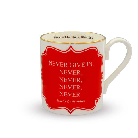 English Fine Bone China | Never give in...Never Never Never Never... Mug | Winston Churchill | Halcyon Days | Made in England