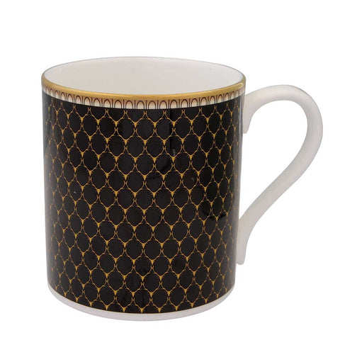 Fine English Bone China | Antler Trellis Mug | Black | Halcyon Days | Made in England