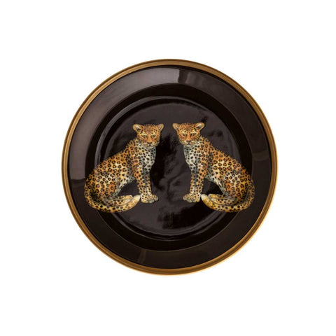 Halcyon Days Magnificent Wildlife Twin Leopard Coasters, Set of 4-Bone China-Sterling-and-Burke