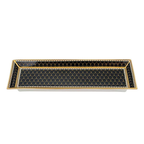 Fine English Bone China | Trinket Tray | Antler Trellis | Rectangular | Black | Halcyon Days