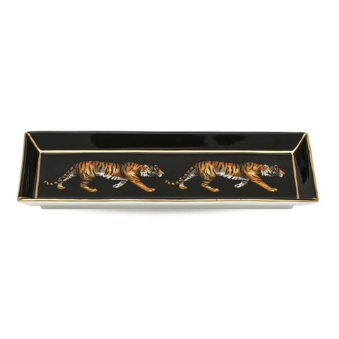 English Fine Bone China | Trinket Tray | Tiger | Rectangular | Black | Halcyon Days | Made in England-Bone China-Sterling-and-Burke