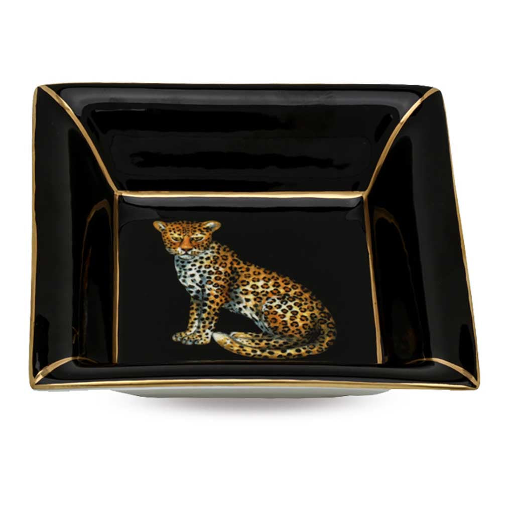 Fine English Bone China | Trinket Tray | Leopard | Square | Black | Halcyon Days | Made in England-Trinket Tray-Sterling-and-Burke