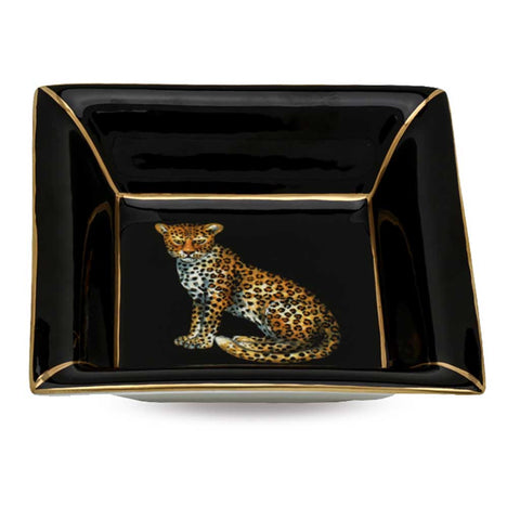 Fine English Bone China | Trinket Tray | Leopard | Square | Black | Halcyon Days