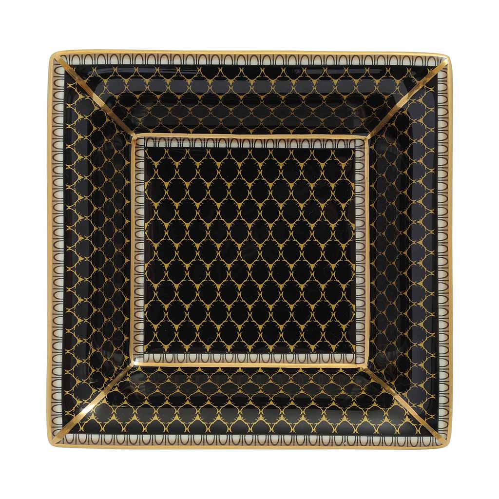 Fine English Bone China | Trinket Tray | Antler Trellis | Square | Black | Halcyon Days | Made in England-Trinket Tray-Sterling-and-Burke